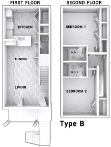 2 bedroom townhouse layout